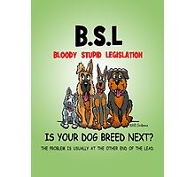 B.S.L  BLOODY STUPID LEGISLATION Photographic Print