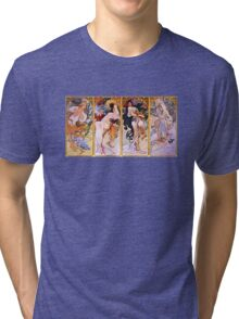 'The Four Seasons' by Alphonse Mucha (Reproduction) Tri-blend T-Shirt