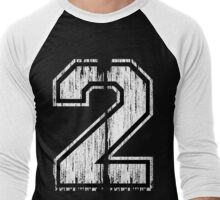 White Distressed Sports Number 2 Men's Baseball ¾ T-Shirt