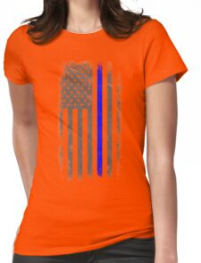 Vertical Thin Blue Line American Flag Womens Fitted T-Shirt