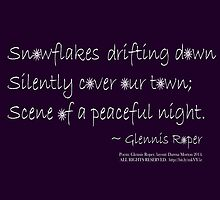 Snowflakes Drifting down haiku, on purple by PoemsProseArt