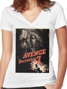 Vintage poster - Pearl Harbor Women's Fitted V-Neck T-Shirt