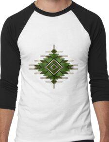 Green Native American-Style Sunburst Men's Baseball ¾ T-Shirt