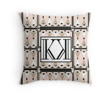 1920s Pink Champagne Deco Monogram letters K & K  Throw Pillow