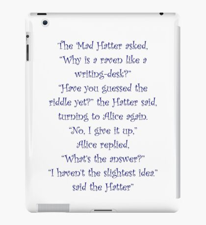 The Mad Hatter, The Raven & The Writing Desk iPad Case/Skin