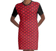 Red Dragon Scales Graphic T-Shirt Dress