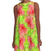 Watercolor Red Hibiscus Tropical Aloha Botanical A-Line Dress