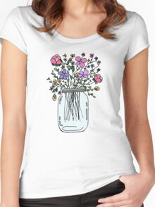 Mason Jar with Flowers Women's Fitted Scoop T-Shirt