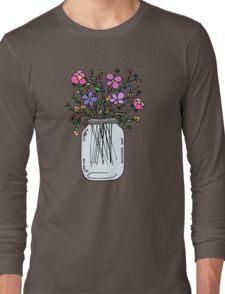 Mason Jar with Flowers Long Sleeve T-Shirt