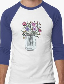 Mason Jar with Flowers Men's Baseball ¾ T-Shirt