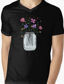 Mason Jar with Flowers Mens V-Neck T-Shirt