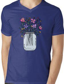 Mason Jar with Flowers Mens V-Neck T-Shirt