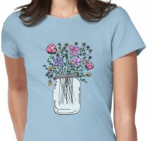 Mason Jar with Flowers Womens Fitted T-Shirt