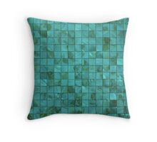Tiffany Aqua Blue and Green Shades Mother of Pearl 3D Tiled Throw Pillow