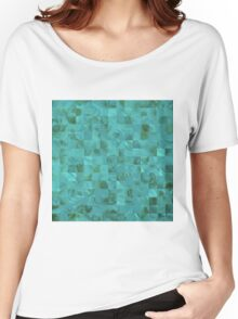 Tiffany Aqua Blue Mother of Pearl Mosaic Grid Women's Relaxed Fit T-Shirt
