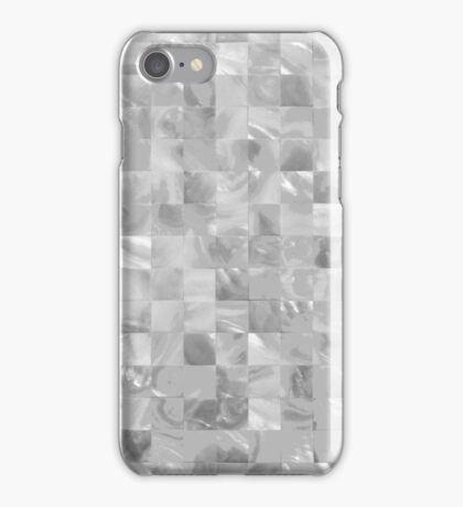 Silver and White Mother of Pearl Mosaic Tiles iPhone Case/Skin