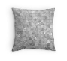 Silver Grey White Mother of Pearl Tiled Mosaic Grid Throw Pillow