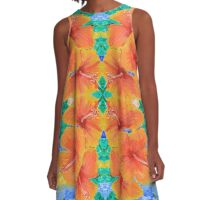 Hand-Painted Tropical Orange Hibiscus Botanical A-Line Dress