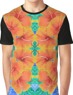 Hand-Painted Tropical Orange Hibiscus Botanical Graphic T-Shirt