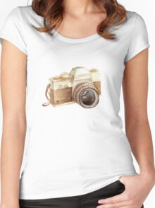 watercolor camera Women's Fitted Scoop T-Shirt