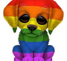 Cute Gay Pride Rainbow Flag Puppy Dog by Jeff Bartels