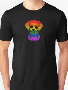Cute Gay Pride Rainbow Flag Puppy Dog Unisex T-Shirt