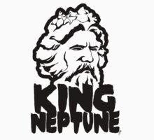 King Neptune Head - Black Kids Tee