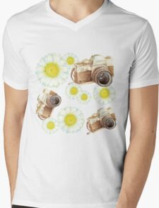 pattern. camera with flowers  Mens V-Neck T-Shirt