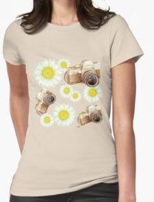 pattern. camera with flowers  Womens Fitted T-Shirt