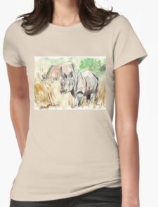 Two White Rhinos Womens Fitted T-Shirt