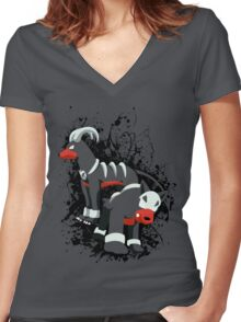 Houndour and Houndoom Splatter Women's Fitted V-Neck T-Shirt