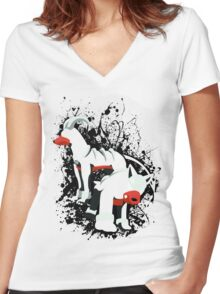 Houndour and Houndoom Splatter Women's Fitted V-Neck T-Shirt