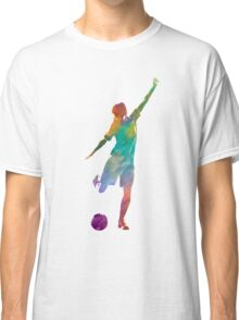 Woman soccer player 09 in watercolor Classic T-Shirt