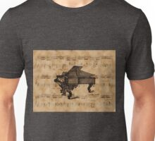 Antique Grand Piano on Vintage Music Sheet Unisex T-Shirt