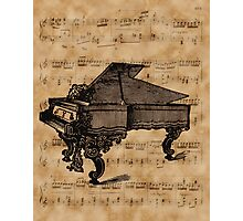Antique Grand Piano on Vintage Music Sheet Photographic Print