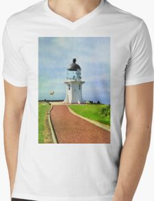 Old lighthouse in watercolor Mens V-Neck T-Shirt