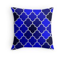 Shades Of Navy Blue Quatrefoil Pattern Throw Pillow
