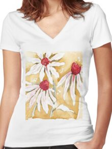 Daisies in the Rain Women's Fitted V-Neck T-Shirt