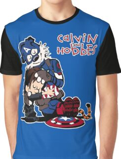 Calvin Meets His Idol : Captain Hobbesca Graphic T-Shirt