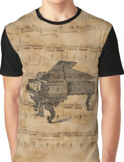 Antique Grand Piano on Vintage Music Sheet Graphic T-Shirt