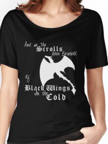Black wings in the cold (white lettering)  Women's Relaxed Fit T-Shirt