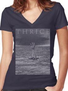 Digital Sea Women's Fitted V-Neck T-Shirt