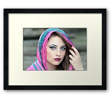 Young  woman in wearing islamic scarf Framed Print