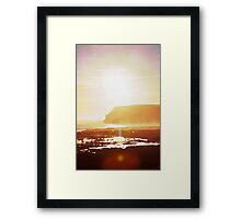 Coastal sunset in watercolor Framed Print