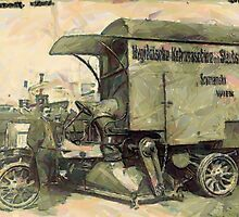 A digital painting of A 'New' Street Cleaner, Vienna, Austria c19th century by Dennis Melling
