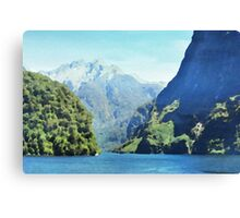 Fjord in watercolor Canvas Print