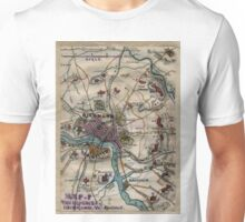 Vintage Richmond Virginia Civil War Map (1865) Unisex T-Shirt