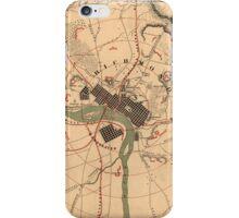 Vintage Richmond VA Rebel Defense Map (1864) iPhone Case/Skin
