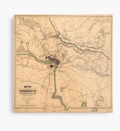 Vintage Richmond VA Rebel Defense Map (1864) Metal Print