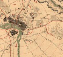 Vintage Richmond VA Rebel Defense Map (1864) Sticker